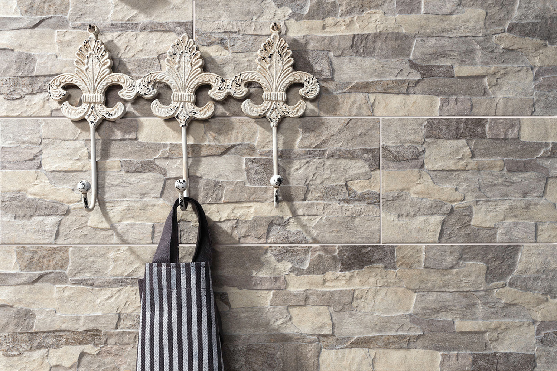 Wandfliese Natursteinoptik Aragon brick beige im Format 15x45cm Wandverblender Fliese in Steinoptik Muster ab 10x10cm