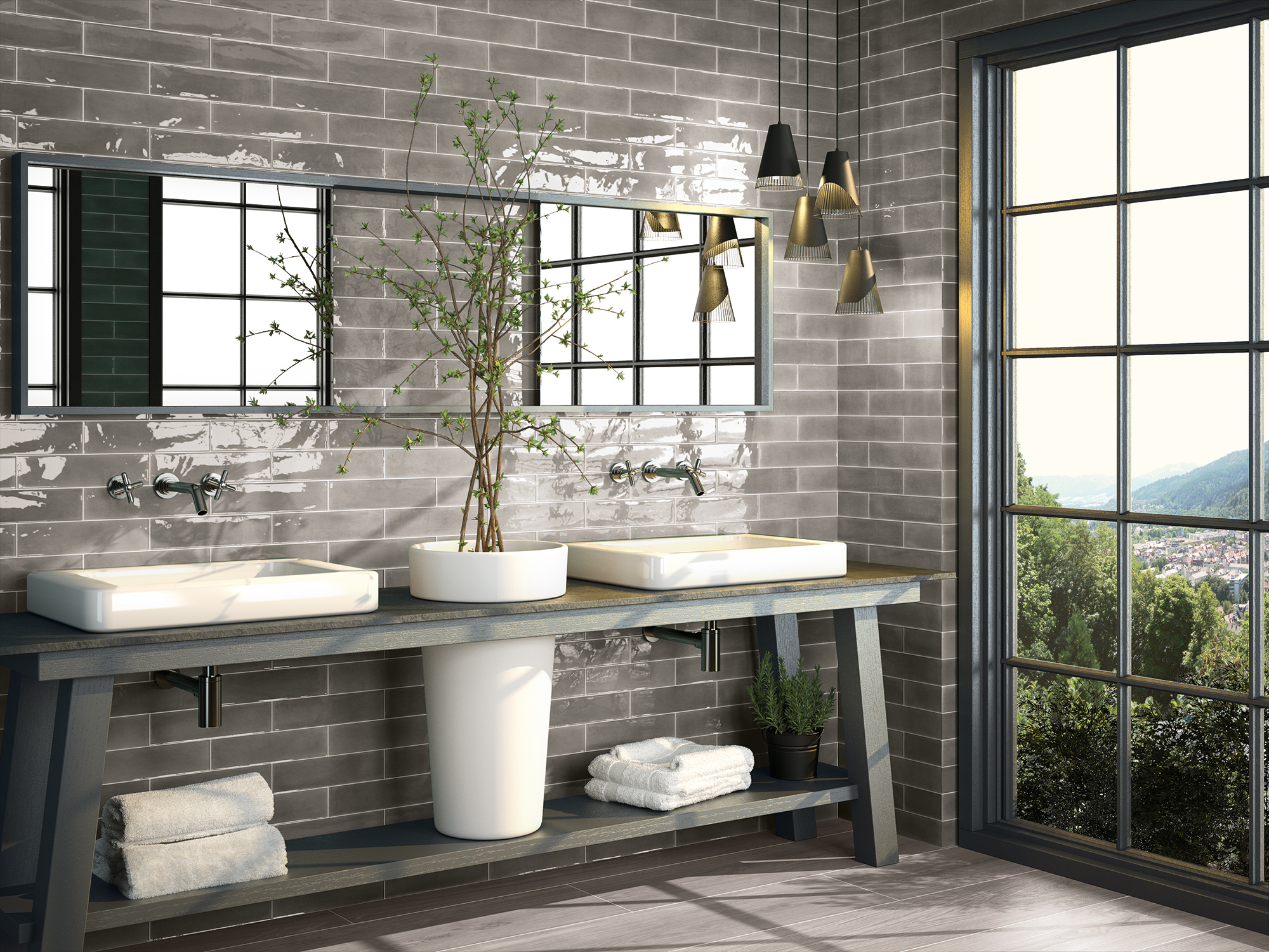 wandfliesen glow grau gl nzend 7 5x30cm dekorfliesen retro look ebay. Black Bedroom Furniture Sets. Home Design Ideas